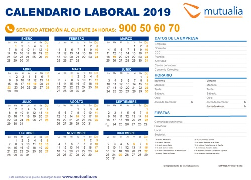 Calendario Laboral Bilbao.Calendario Laboral 2019 De Mutualia Mutualia
