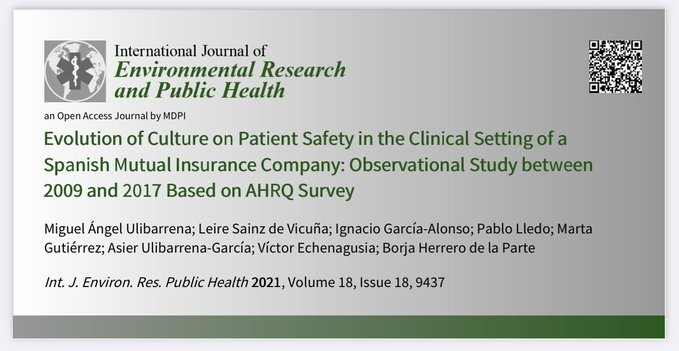 Evolution of culture on Patient Safety in the clinical setting of a Spanish mutual insurance company: observational study between 2009 and 2017